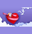 valentines day card with couple flying on heart vector image vector image