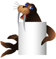 walrus with blank sign vector image vector image