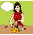 Woman puts sandwich to child bag comic vector image vector image