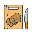 wooden cutting board with sliced bread color icon vector image vector image