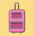 rolling pink suitcase in flat linear style vector image