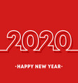 2020 happy new year template minimal line design vector image vector image