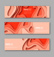 3d paper cut horizontal banners shapes vector image vector image