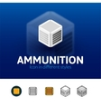 Ammunition icon in different style vector image vector image