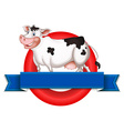 An empty label with a cow vector image