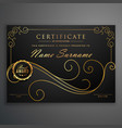 black and golden premium certificate template vector image vector image