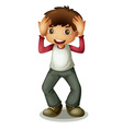 Boy holding head vector image