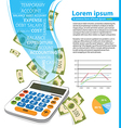 Calculator and money vector image vector image