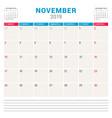 calendar planner for november 2019 week starts on vector image
