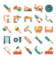 carpenter icons pack vector image vector image