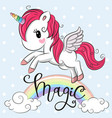 cartoon unicorn is flying under the rainbow vector image vector image