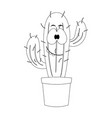 colorless cartoon cactus vector image vector image