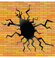 crack on a brick background vector image vector image