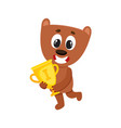 cute little teddy bear character champion holding vector image vector image