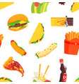 fast food seamless pattern design element can vector image vector image