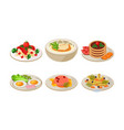 flat set of plates with tasty food vector image vector image