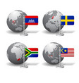 gray earth globes with designation cambodia vector image vector image