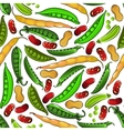 Green peas peanuts and beans pattern vector image vector image