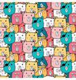 hand drawn cute bear pattern vector image vector image