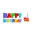 Happy birthday Piece of festive cake with candle vector image