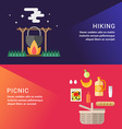 Hiking and Picknic Set of Flat Style for Web vector image