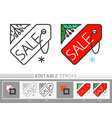 holly and shop label tag banner sale line icon vector image