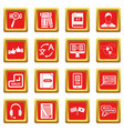 learning foreign languages icons set red vector image vector image