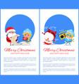 merry christmas happy new year santa snow maiden vector image vector image