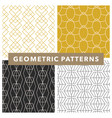 mono line art deco geometric pattern set vector image