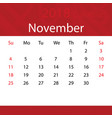 november 2018 calendar popular red premium for vector image vector image