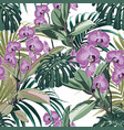 pattern background with exotic orchid flowers vector image vector image
