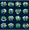 planet earth with clouds emoticons se vector image vector image