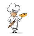Profession baker worker cartoon figure vector image