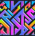 retro rainbow geometric pattern with grunge effect vector image vector image