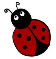 scared ladybug on white background vector image vector image