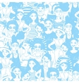 seamless pattern with doodle women vector image
