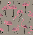 seamless pattern with folk art flamingo vector image