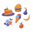 set of fast food - cake burger ice cream fruit vector image