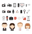 Set of flat colorful journalism icons Mass media vector image