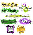 set with lettering mardi gras vector image