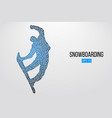 silhouette a snowboarder jumping isolated vector image