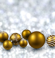 Silver background with golden christmas balls vector image