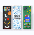 three vertical back to school banners backpack vector image vector image
