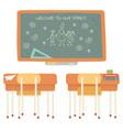 welcome to school blackboard with desk classroom vector image