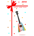 2014 new year gift card an ukulele guitar vector image vector image