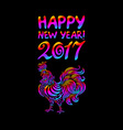 a rooster with spread wings colored rainbow colors vector image vector image