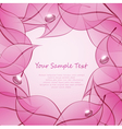 abstract background with pink leaves and drops of vector image vector image