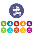 baby carriage designer icons set color vector image vector image