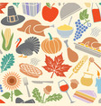 background pattern with thanksgiving day icons vector image vector image