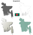 Bangladesh outline map set vector image vector image